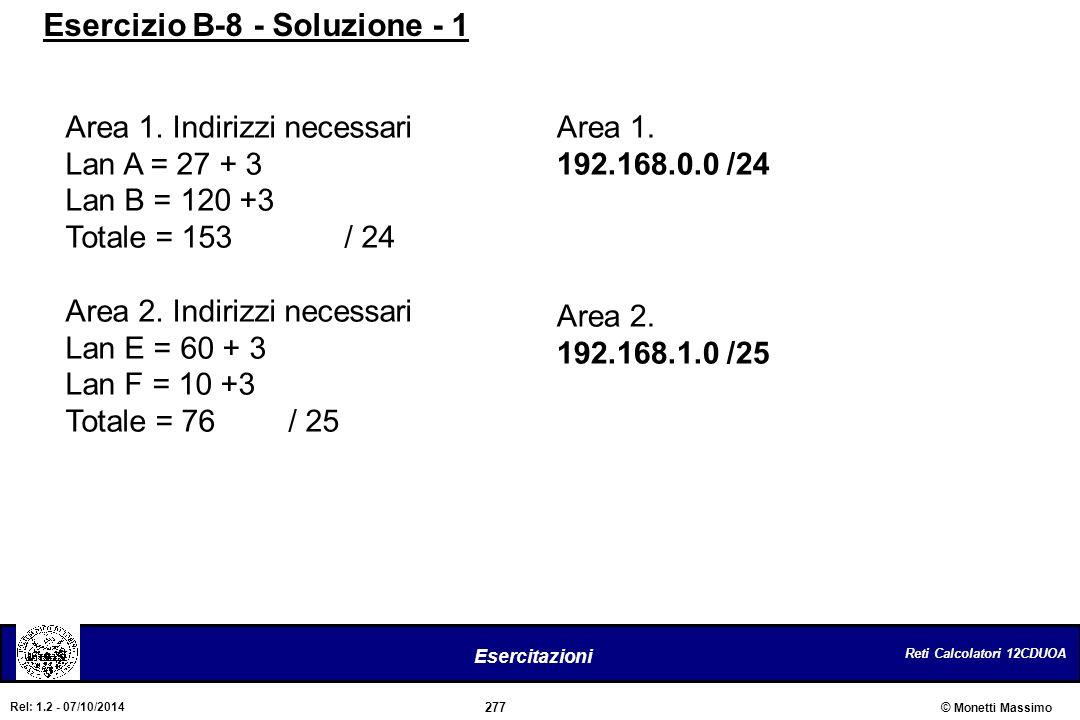Reti Calcolatori 12CDUOA 277 Esercitazioni © Monetti Massimo Rel: 1.2 - 07/10/2014 Area 1. Indirizzi necessari Lan A = 27 + 3 Lan B = 120 +3 Totale =