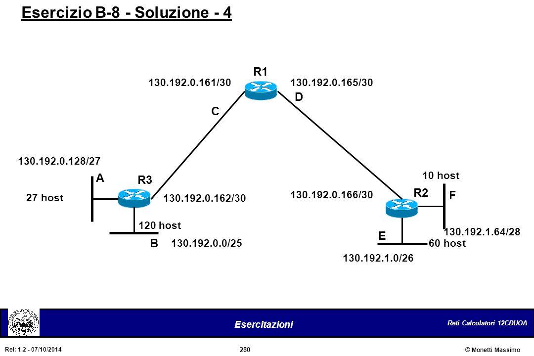 Reti Calcolatori 12CDUOA 280 Esercitazioni © Monetti Massimo Rel: 1.2 - 07/10/2014 120 host R2 130.192.0.0/25 R3 D C B A E F R1 27 host 10 host 60 hos