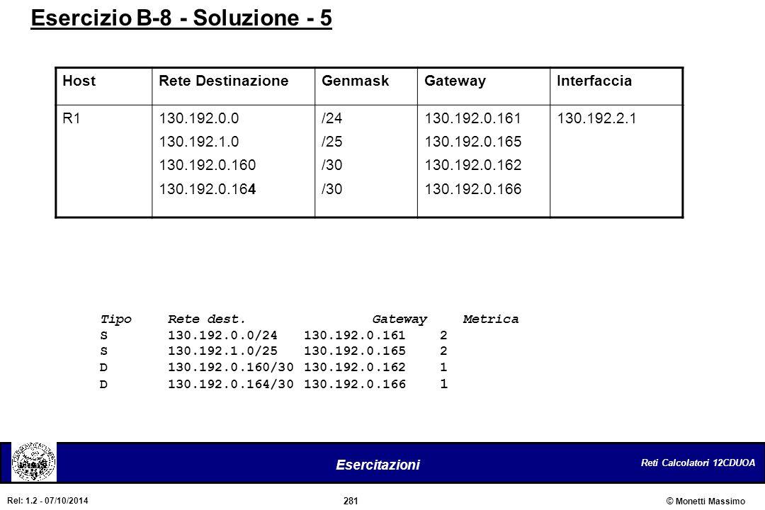 Reti Calcolatori 12CDUOA 281 Esercitazioni © Monetti Massimo Rel: 1.2 - 07/10/2014 Esercizio B-8 - Soluzione - 5 HostRete DestinazioneGenmaskGatewayIn