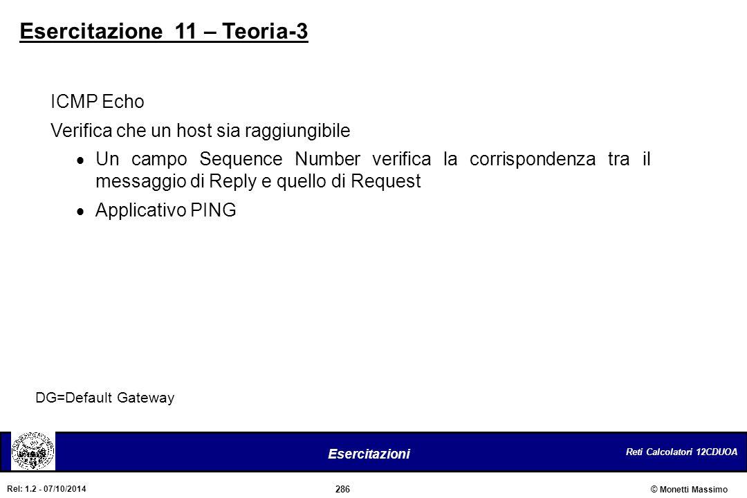 Reti Calcolatori 12CDUOA 286 Esercitazioni © Monetti Massimo Rel: 1.2 - 07/10/2014 DG=Default Gateway ICMP Echo Verifica che un host sia raggiungibile