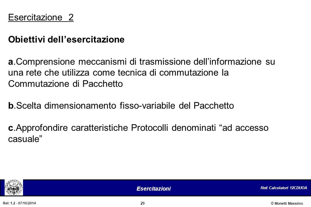 Reti Calcolatori 12CDUOA 29 Esercitazioni © Monetti Massimo Rel: 1.2 - 07/10/2014 Esercitazione 2 Obiettivi dell'esercitazione a.Comprensione meccanis