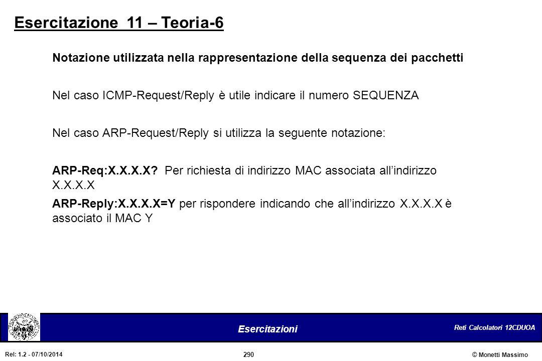 Reti Calcolatori 12CDUOA 290 Esercitazioni © Monetti Massimo Rel: 1.2 - 07/10/2014 Esercitazione 11 – Teoria-6 Notazione utilizzata nella rappresentaz