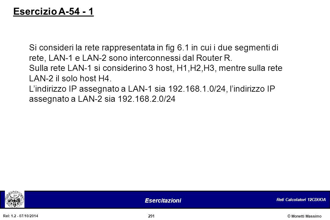 Reti Calcolatori 12CDUOA 291 Esercitazioni © Monetti Massimo Rel: 1.2 - 07/10/2014 Si consideri la rete rappresentata in fig 6.1 in cui i due segmenti