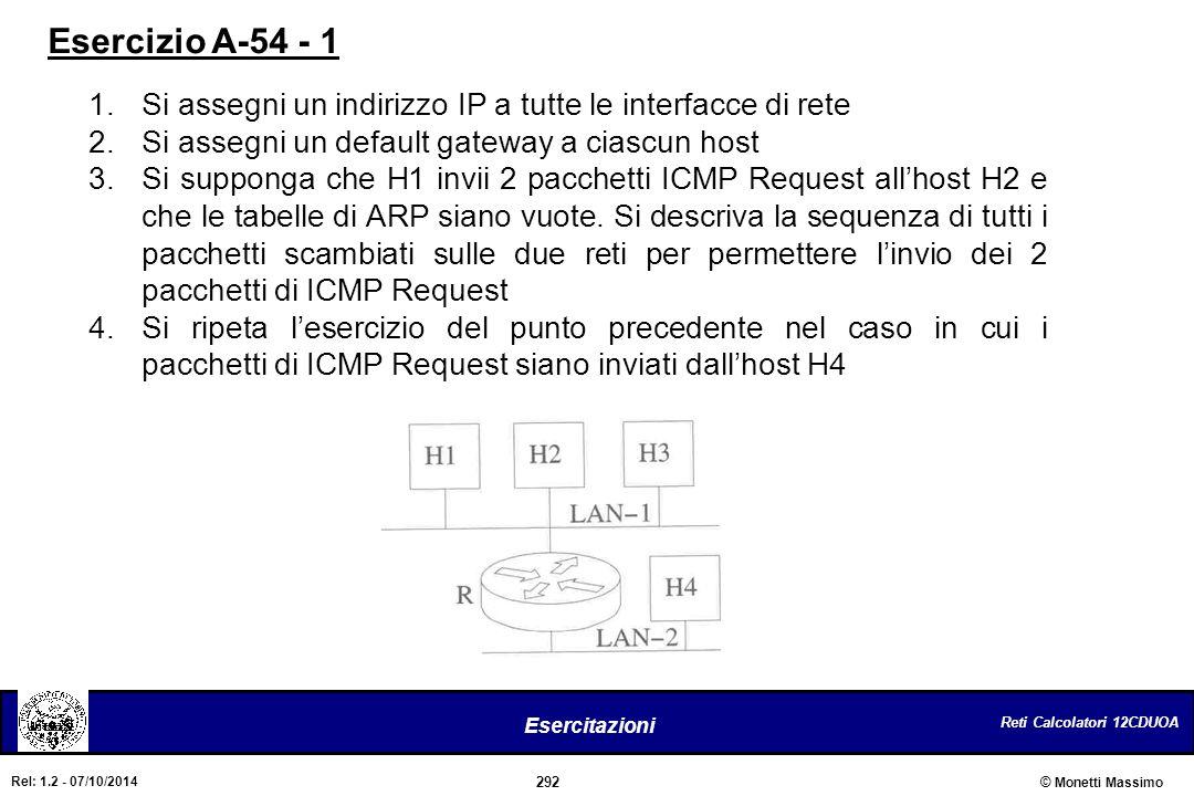 Reti Calcolatori 12CDUOA 292 Esercitazioni © Monetti Massimo Rel: 1.2 - 07/10/2014 1.Si assegni un indirizzo IP a tutte le interfacce di rete 2.Si ass