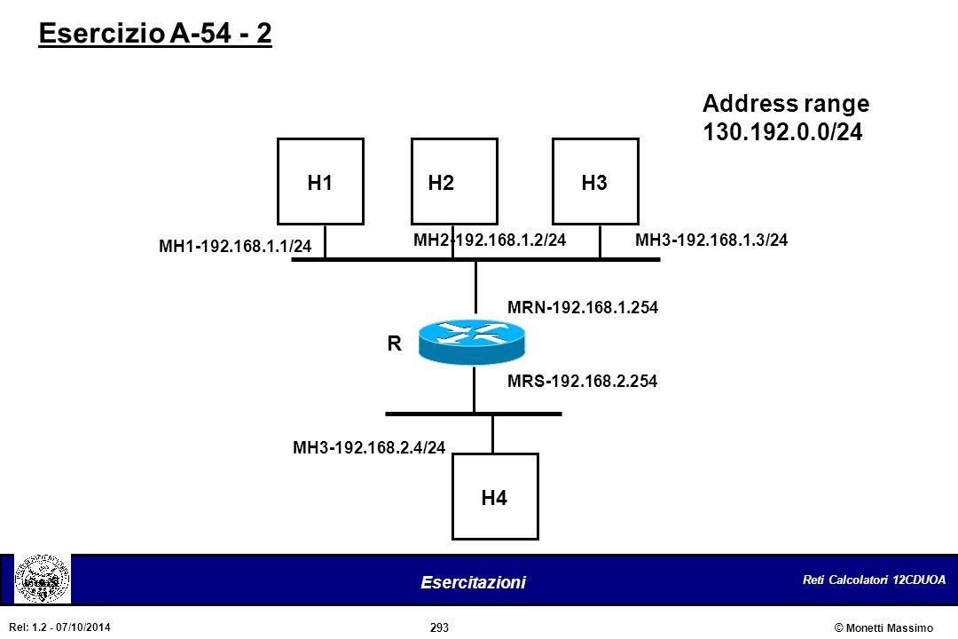 Reti Calcolatori 12CDUOA 293 Esercitazioni © Monetti Massimo Rel: 1.2 - 07/10/2014 Address range 130.192.0.0/24 R MRS-192.168.2.254 MRN-192.168.1.254