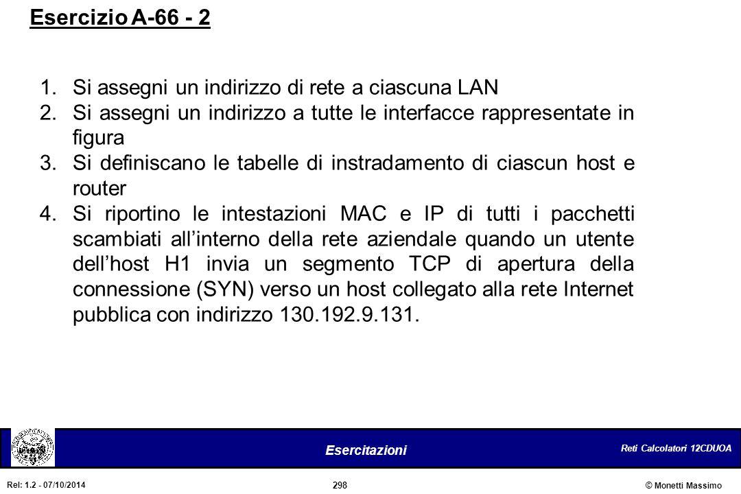 Reti Calcolatori 12CDUOA 298 Esercitazioni © Monetti Massimo Rel: 1.2 - 07/10/2014 1.Si assegni un indirizzo di rete a ciascuna LAN 2.Si assegni un in