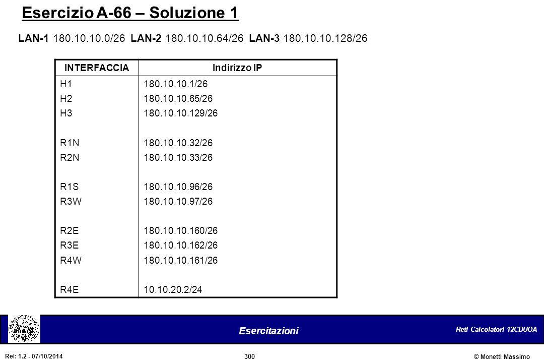 Reti Calcolatori 12CDUOA 300 Esercitazioni © Monetti Massimo Rel: 1.2 - 07/10/2014 Esercizio A-66 – Soluzione 1 INTERFACCIAIndirizzo IP H1 H2 H3 R1N R