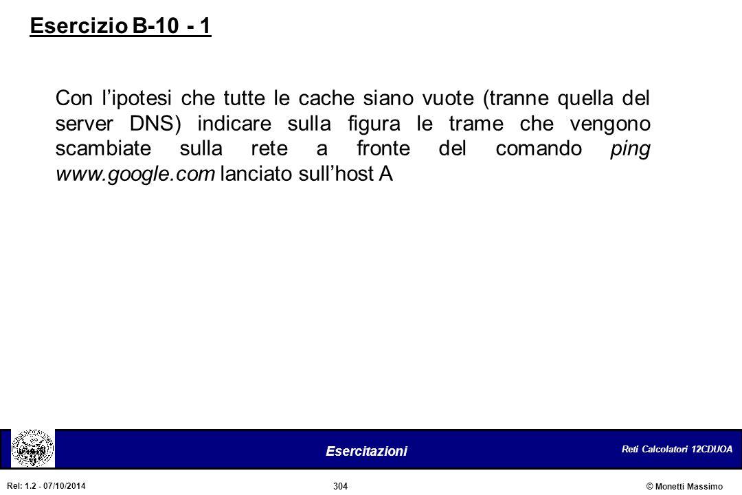 Reti Calcolatori 12CDUOA 304 Esercitazioni © Monetti Massimo Rel: 1.2 - 07/10/2014 Con l'ipotesi che tutte le cache siano vuote (tranne quella del ser