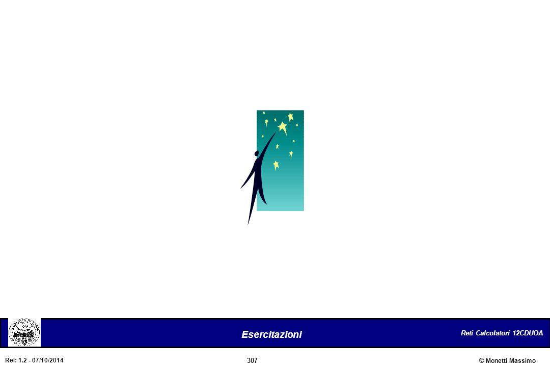 Reti Calcolatori 12CDUOA 307 Esercitazioni © Monetti Massimo Rel: 1.2 - 07/10/2014