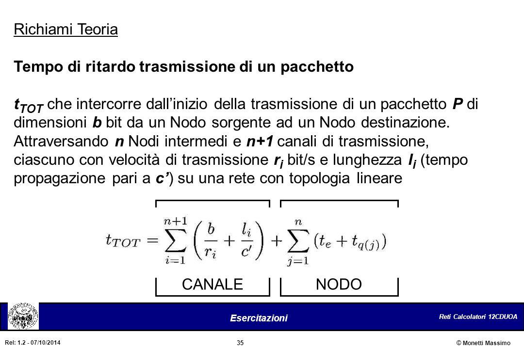 Reti Calcolatori 12CDUOA 35 Esercitazioni © Monetti Massimo Rel: 1.2 - 07/10/2014 CANALENODO Richiami Teoria Tempo di ritardo trasmissione di un pacch