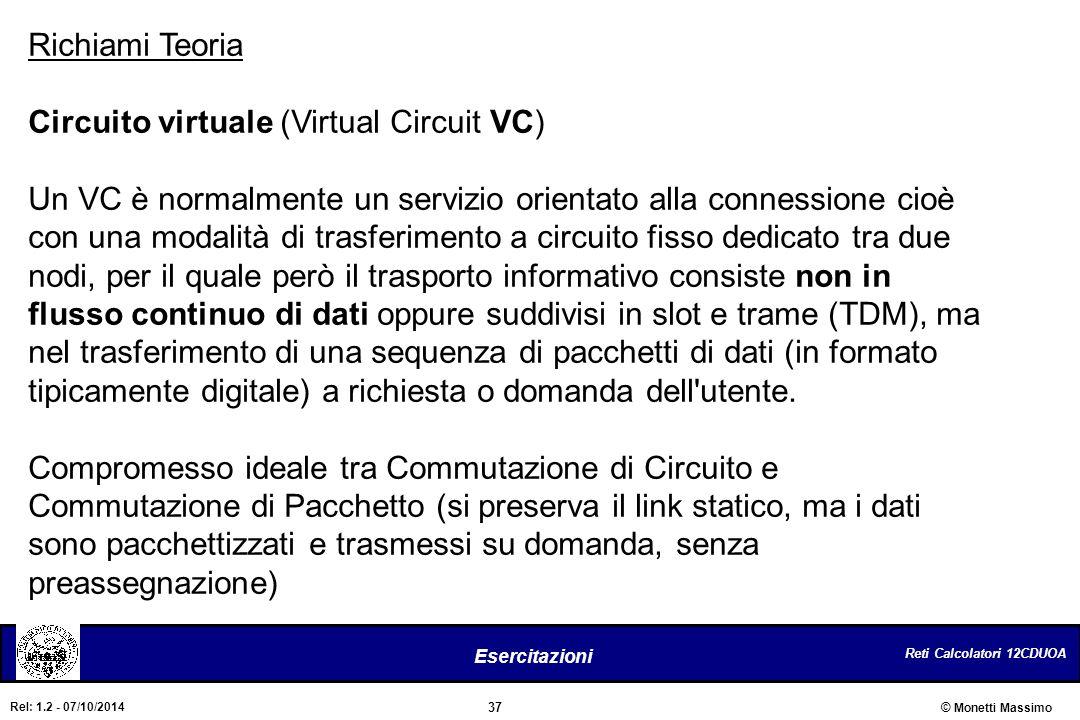 Reti Calcolatori 12CDUOA 37 Esercitazioni © Monetti Massimo Rel: 1.2 - 07/10/2014 Richiami Teoria Circuito virtuale (Virtual Circuit VC) Un VC è norma