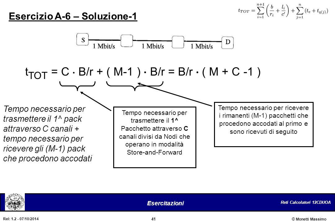 Reti Calcolatori 12CDUOA 41 Esercitazioni © Monetti Massimo Rel: 1.2 - 07/10/2014 Esercizio A-6 – Soluzione-1 t TOT = C. B/r + ( M-1 ). B/r = B/r. ( M