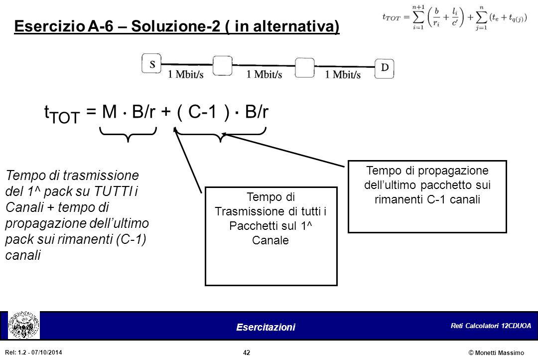 Reti Calcolatori 12CDUOA 42 Esercitazioni © Monetti Massimo Rel: 1.2 - 07/10/2014 Esercizio A-6 – Soluzione-2 ( in alternativa) t TOT = M. B/r + ( C-1