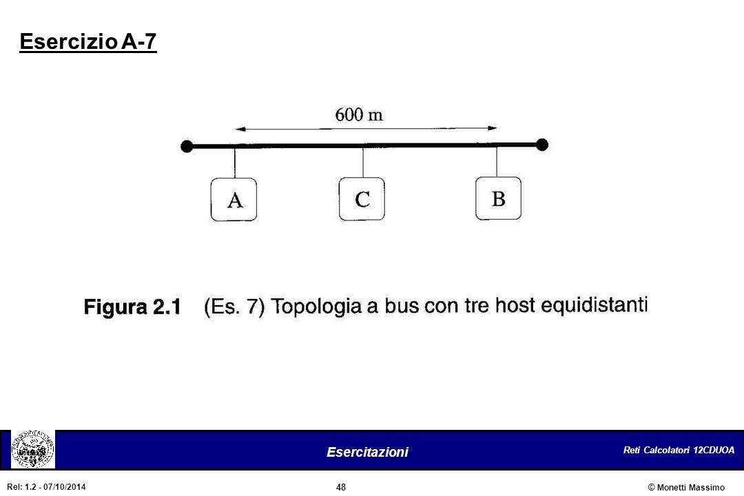 Reti Calcolatori 12CDUOA 48 Esercitazioni © Monetti Massimo Rel: 1.2 - 07/10/2014 Esercizio A-7