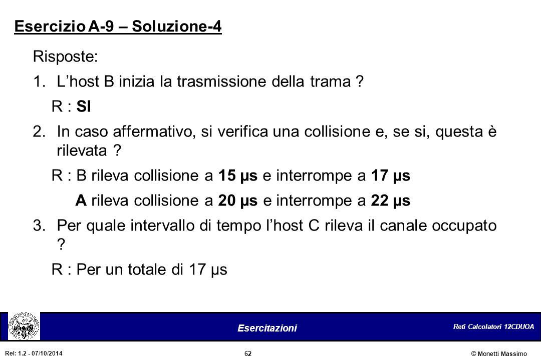 Reti Calcolatori 12CDUOA 62 Esercitazioni © Monetti Massimo Rel: 1.2 - 07/10/2014 Risposte: 1.L'host B inizia la trasmissione della trama ? R : SI 2.I