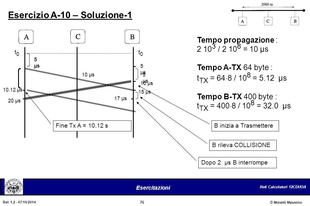 Reti Calcolatori 12CDUOA 76 Esercitazioni © Monetti Massimo Rel: 1.2 - 07/10/2014 Esercizio A-10 – Soluzione-1 Tempo propagazione : 2 10 3 / 2 10 8 =