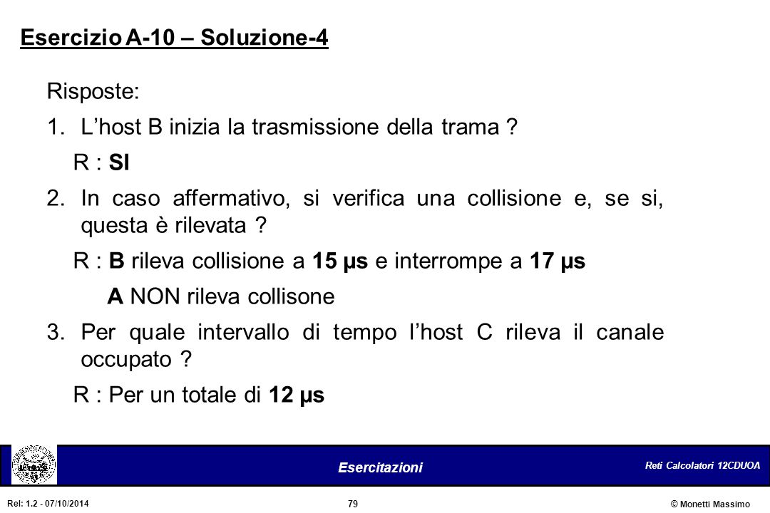 Reti Calcolatori 12CDUOA 79 Esercitazioni © Monetti Massimo Rel: 1.2 - 07/10/2014 Risposte: 1.L'host B inizia la trasmissione della trama ? R : SI 2.I
