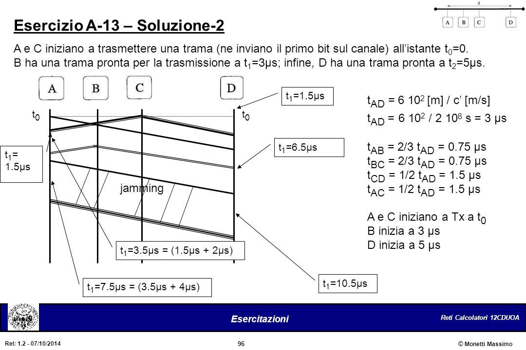 Reti Calcolatori 12CDUOA 96 Esercitazioni © Monetti Massimo Rel: 1.2 - 07/10/2014 Esercizio A-13 – Soluzione-2 A e C iniziano a trasmettere una trama
