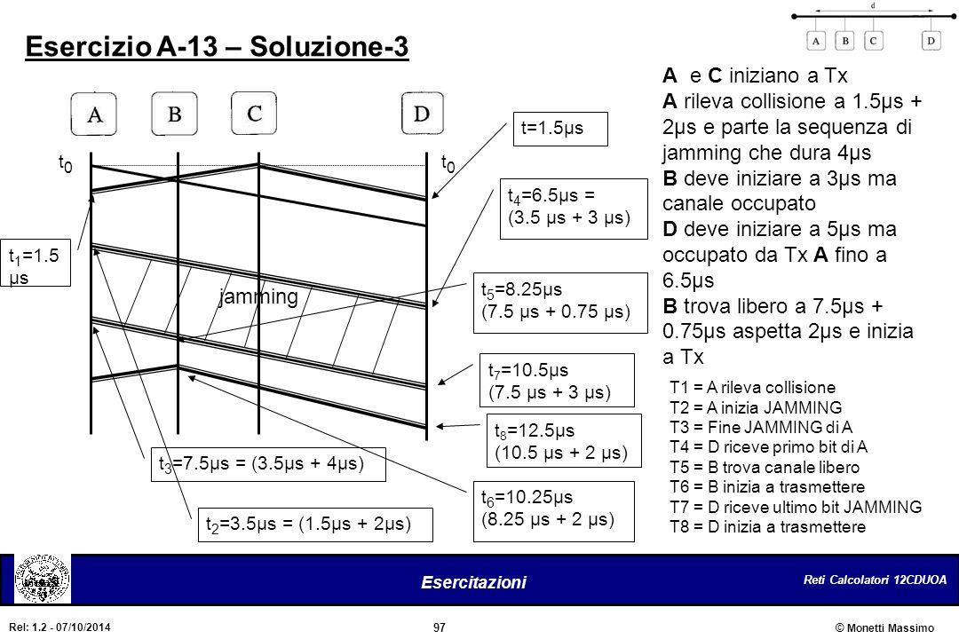 Reti Calcolatori 12CDUOA 97 Esercitazioni © Monetti Massimo Rel: 1.2 - 07/10/2014 Esercizio A-13 – Soluzione-3 t0t0 t0t0 A e C iniziano a Tx A rileva