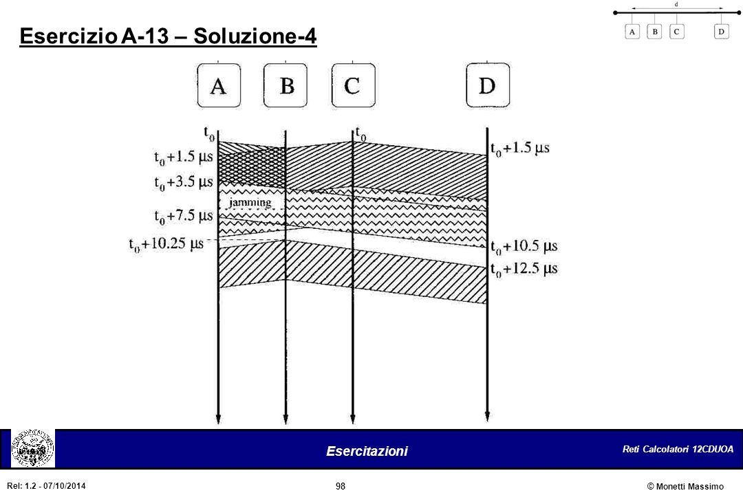 Reti Calcolatori 12CDUOA 98 Esercitazioni © Monetti Massimo Rel: 1.2 - 07/10/2014 Esercizio A-13 – Soluzione-4