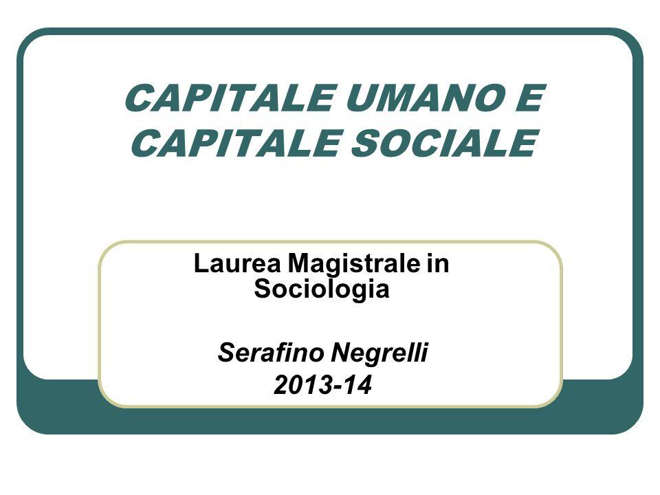 CAPITALE UMANO E CAPITALE SOCIALE Laurea Magistrale in Sociologia Serafino Negrelli 2013-14