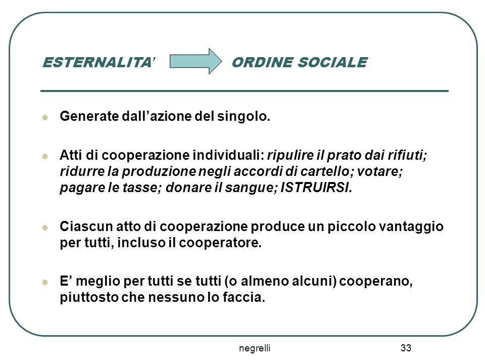 negrelli 33 ESTERNALITA' ORDINE SOCIALE Generate dall'azione del singolo.
