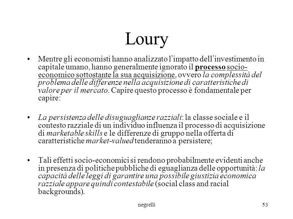 negrelli53 Loury Mentre gli economisti hanno analizzato l ' impatto dell ' investimento in capitale umano, hanno generalmente ignorato il processo socio- economico sottostante la sua acquisizione, ovvero la complessità del problema delle differenze nella acquisizione di caratteristiche di valore per il mercato.