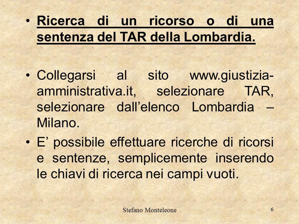 Ricerca di un ricorso o di una sentenza del TAR della Lombardia.