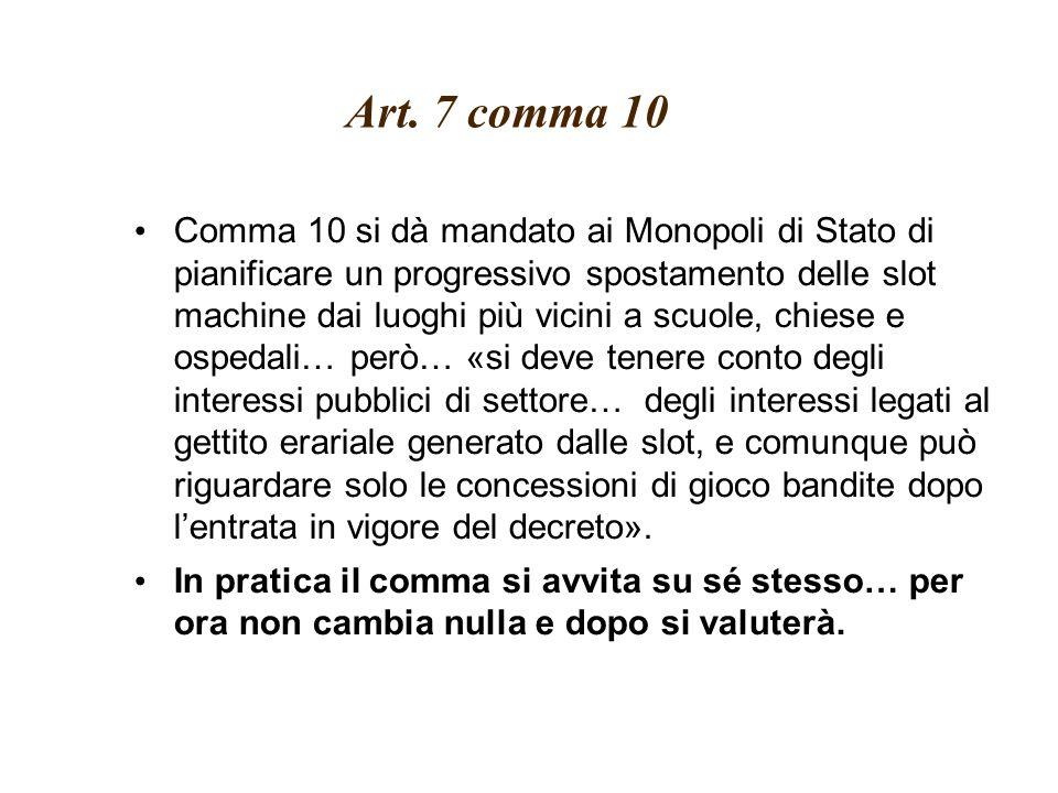 Art. 7 comma 10 Comma 10 si dà mandato ai Monopoli di Stato di pianificare un progressivo spostamento delle slot machine dai luoghi più vicini a scuol