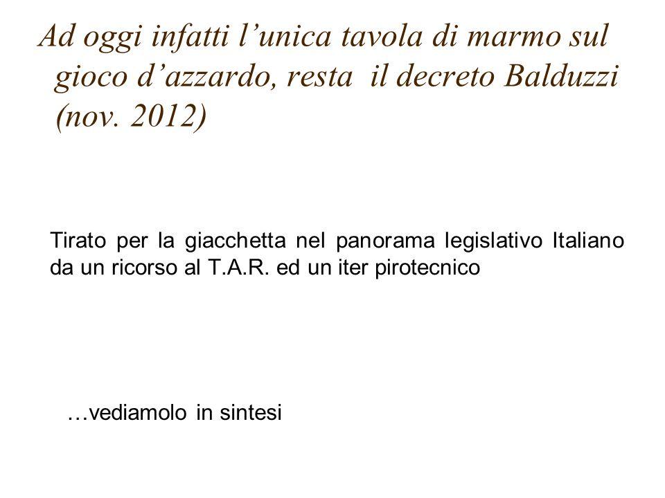 Tirato per la giacchetta nel panorama legislativo Italiano da un ricorso al T.A.R. ed un iter pirotecnico Ad oggi infatti l'unica tavola di marmo sul