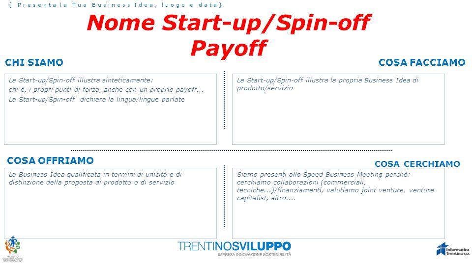 Chi Siamo { Presenta la Tua Business Idea, luogo e data} La Start-up/Spin-off illustra sinteticamente: chi è, i propri punti di forza, anche con un proprio payoff...