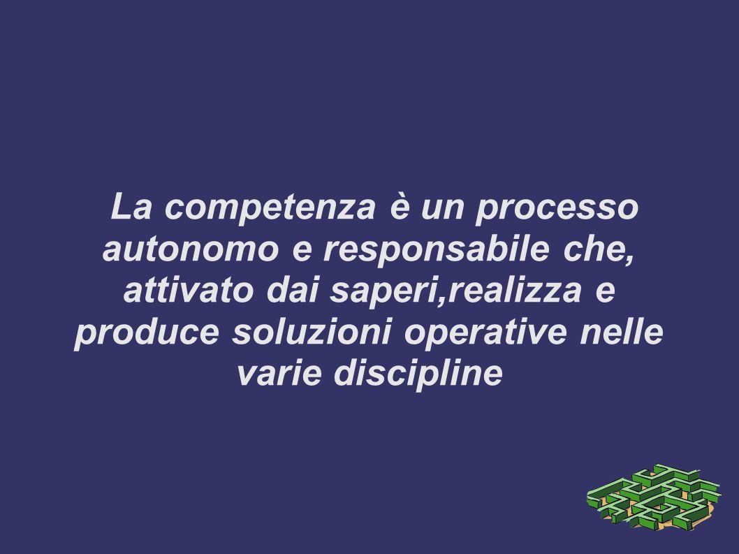 La competenza è un processo autonomo e responsabile che, attivato dai saperi,realizza e produce soluzioni operative nelle varie discipline