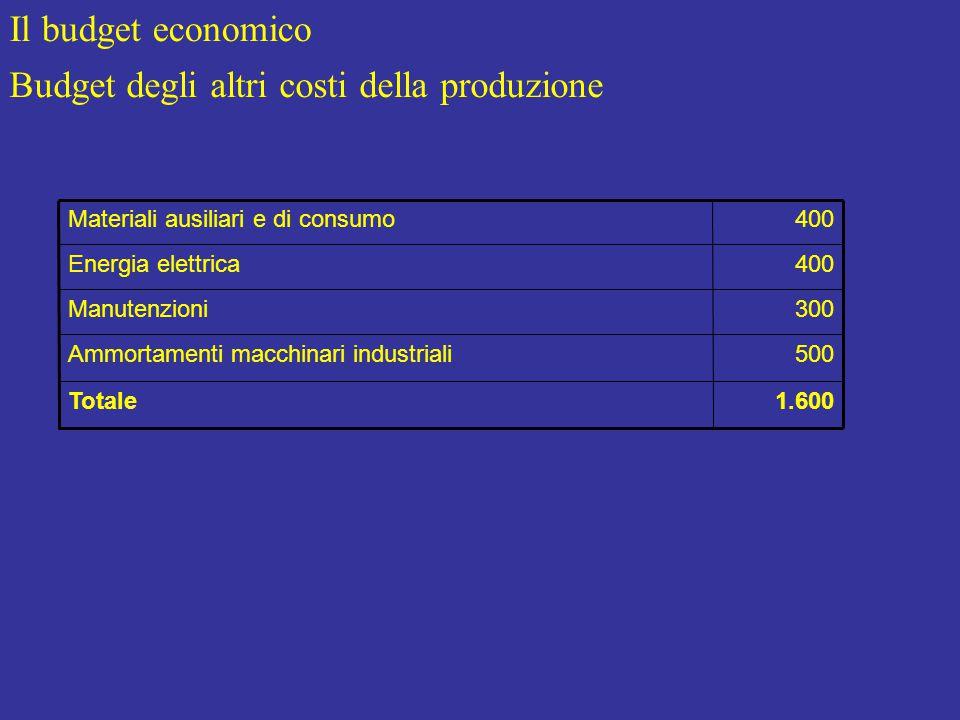 Il budget economico Budget degli altri costi della produzione 1.600Totale 500Ammortamenti macchinari industriali 300Manutenzioni 400Energia elettrica 400Materiali ausiliari e di consumo