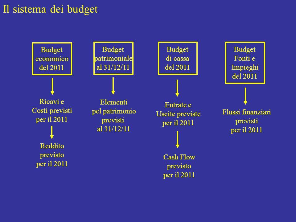 Il sistema dei budget Budget economico del 2011 Budget patrimoniale al 31/12/11 Budget di cassa del 2011 Budget Fonti e Impieghi del 2011 Ricavi e Costi previsti per il 2011 Reddito previsto per il 2011 Elementi pel patrimonio previsti al 31/12/11 Entrate e Uscite previste per il 2011 Cash Flow previsto per il 2011 Flussi finanziari previsti per il 2011