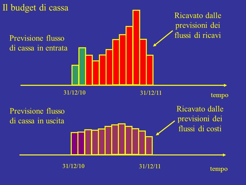 Il budget di cassa tempo 31/12/10 31/12/11 Previsione flusso di cassa in entrata tempo 31/12/10 31/12/11 Previsione flusso di cassa in uscita Ricavato dalle previsioni dei flussi di ricavi Ricavato dalle previsioni dei flussi di costi
