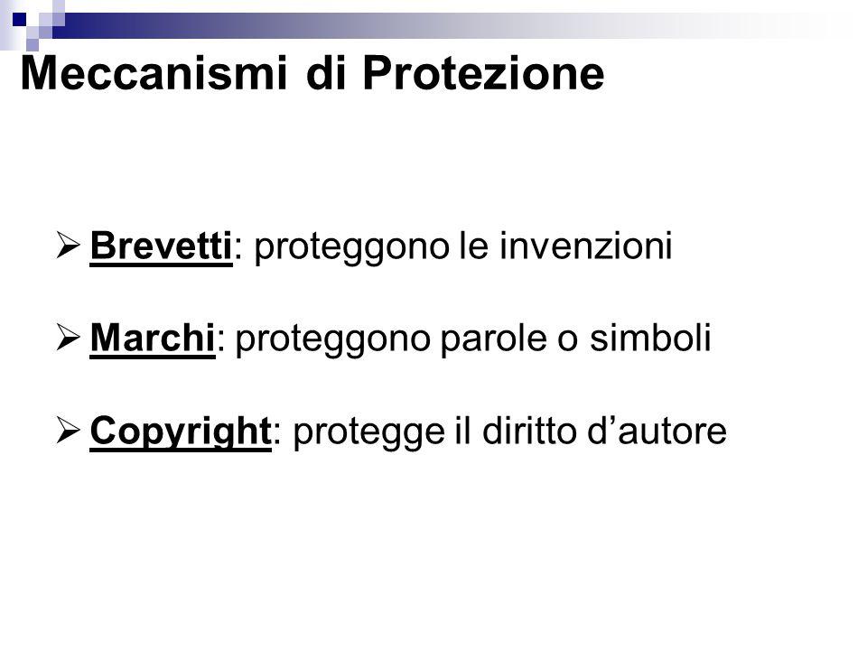  Brevetti: proteggono le invenzioni  Marchi: proteggono parole o simboli  Copyright: protegge il diritto d'autore Meccanismi di Protezione