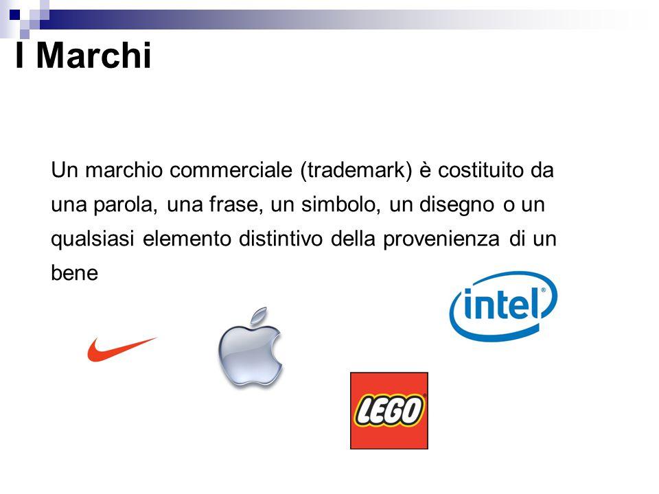 I Marchi Un marchio commerciale (trademark) è costituito da una parola, una frase, un simbolo, un disegno o un qualsiasi elemento distintivo della provenienza di un bene