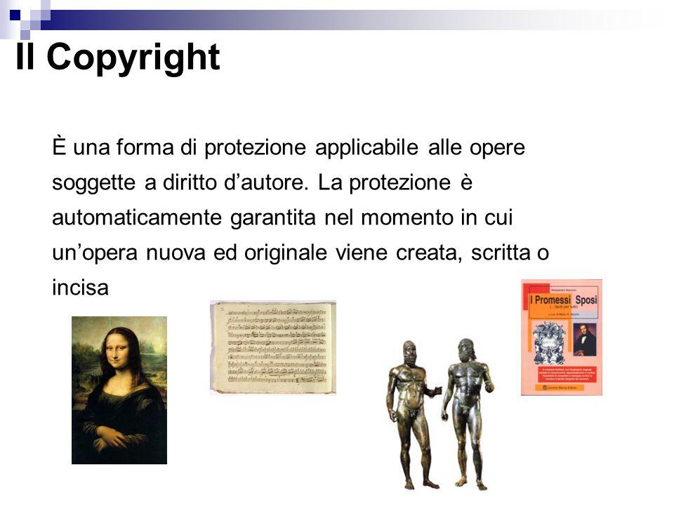 Il Copyright È una forma di protezione applicabile alle opere soggette a diritto d'autore. La protezione è automaticamente garantita nel momento in cu