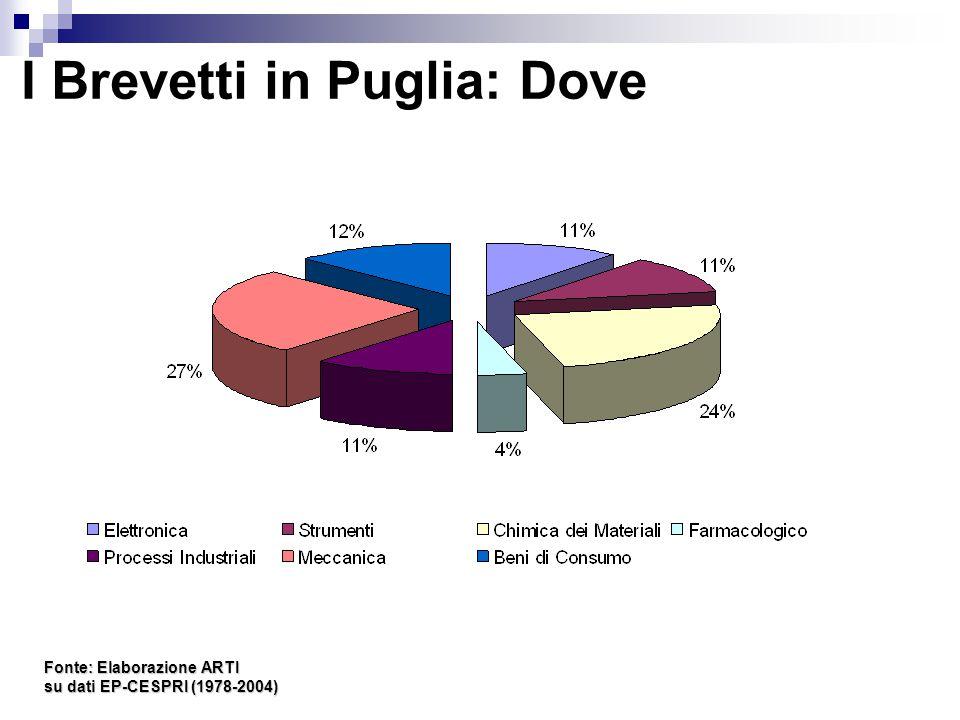 I Brevetti in Puglia: Dove Fonte: Elaborazione ARTI su dati EP-CESPRI (1978-2004)
