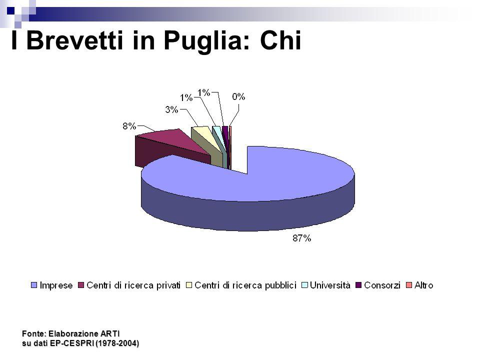 I Brevetti in Puglia: Chi Fonte: Elaborazione ARTI su dati EP-CESPRI (1978-2004)