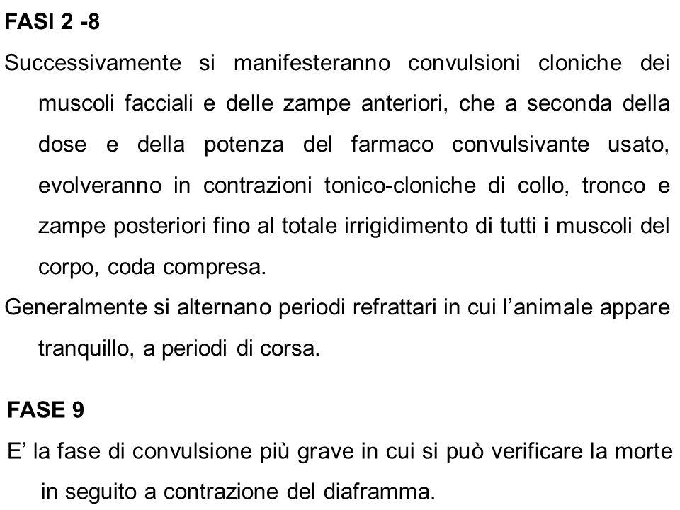 FASI 2 -8 Successivamente si manifesteranno convulsioni cloniche dei muscoli facciali e delle zampe anteriori, che a seconda della dose e della potenz