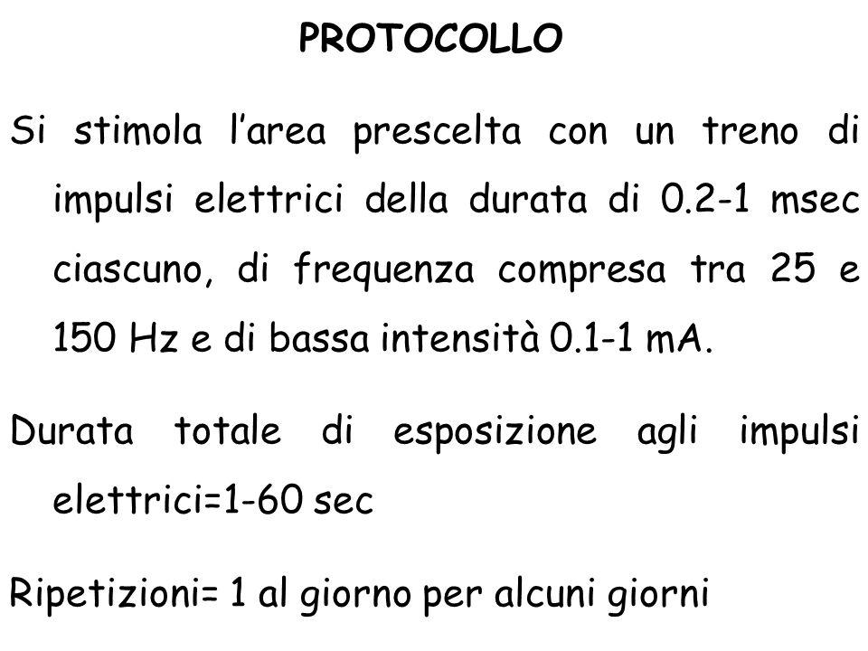 Si stimola l'area prescelta con un treno di impulsi elettrici della durata di 0.2-1 msec ciascuno, di frequenza compresa tra 25 e 150 Hz e di bassa intensità 0.1-1 mA.