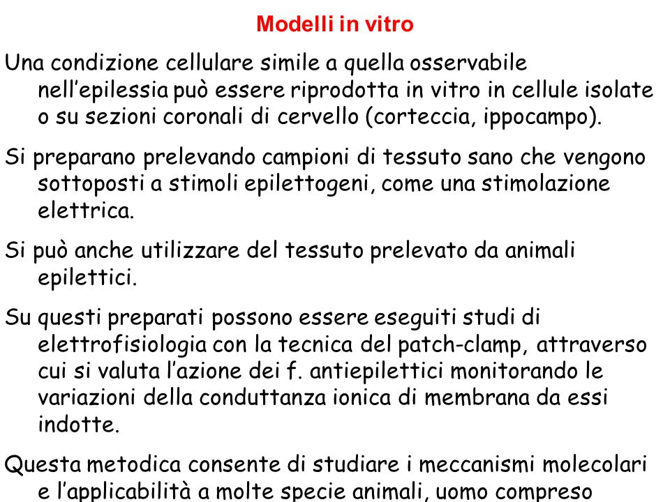 Modelli in vitro Una condizione cellulare simile a quella osservabile nell'epilessia può essere riprodotta in vitro in cellule isolate o su sezioni co
