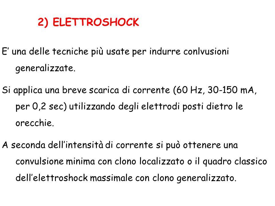 2) ELETTROSHOCK E' una delle tecniche più usate per indurre conlvusioni generalizzate. Si applica una breve scarica di corrente (60 Hz, 30-150 mA, per