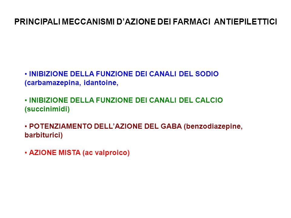 INIBIZIONE DELLA FUNZIONE DEI CANALI DEL SODIO (carbamazepina, idantoine, INIBIZIONE DELLA FUNZIONE DEI CANALI DEL CALCIO (succinimidi) POTENZIAMENTO DELL'AZIONE DEL GABA (benzodiazepine, barbiturici) AZIONE MISTA (ac valproico) PRINCIPALI MECCANISMI D'AZIONE DEI FARMACI ANTIEPILETTICI