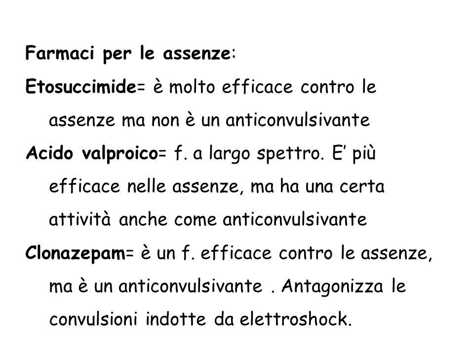 Farmaci per le assenze: Etosuccimide= è molto efficace contro le assenze ma non è un anticonvulsivante Acido valproico= f. a largo spettro. E' più eff