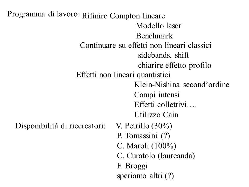 Disponibilità di ricercatori: V. Petrillo (30%) P. Tomassini (?) C. Maroli (100%) C. Curatolo (laureanda) F. Broggi speriamo altri (?) Programma di la