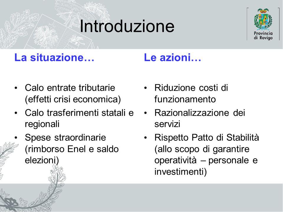 Introduzione La situazione… Calo entrate tributarie (effetti crisi economica) Calo trasferimenti statali e regionali Spese straordinarie (rimborso Ene
