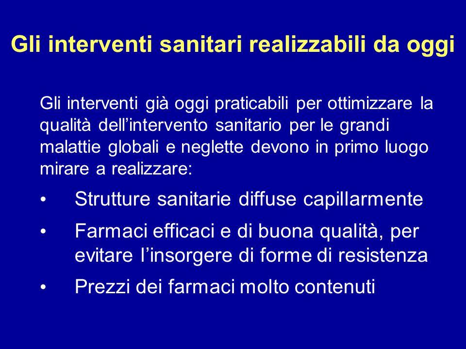 Gli interventi sanitari realizzabili da oggi Gli interventi già oggi praticabili per ottimizzare la qualità dell'intervento sanitario per le grandi ma