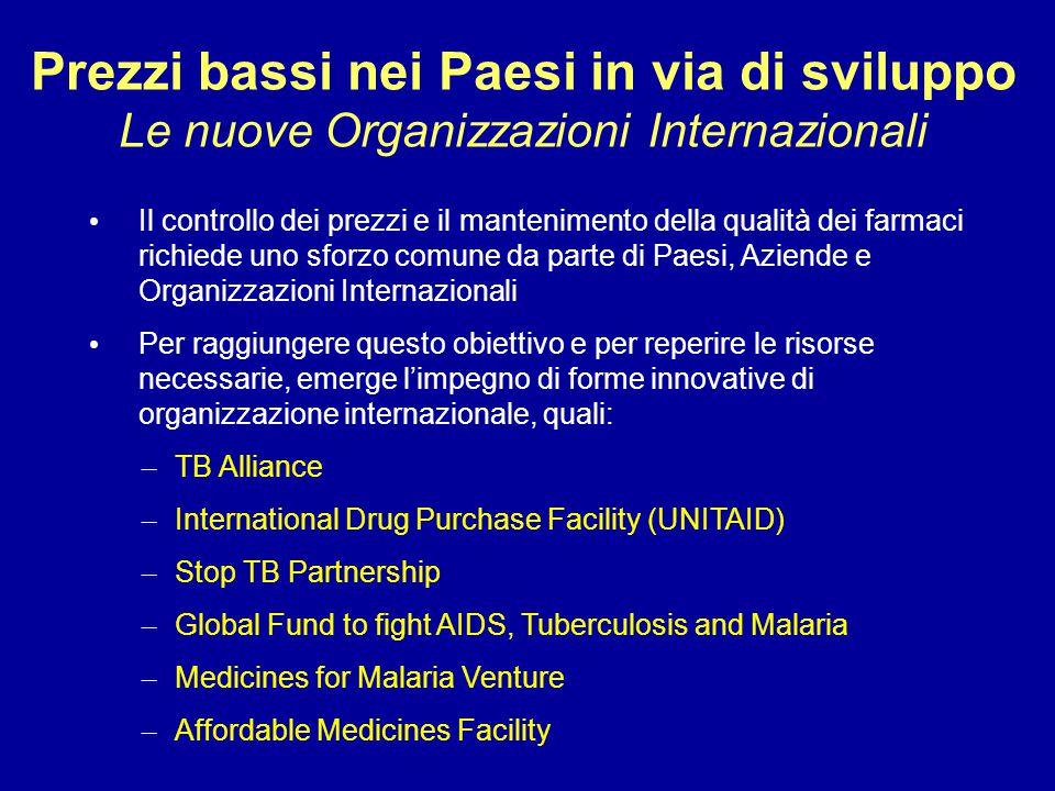 Prezzi bassi nei Paesi in via di sviluppo Le nuove Organizzazioni Internazionali Il controllo dei prezzi e il mantenimento della qualità dei farmaci r